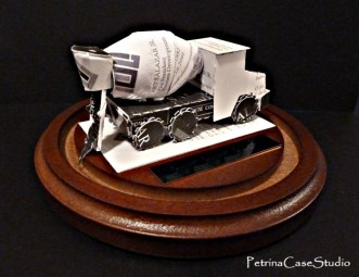 Cement mixer truck business card sculpture