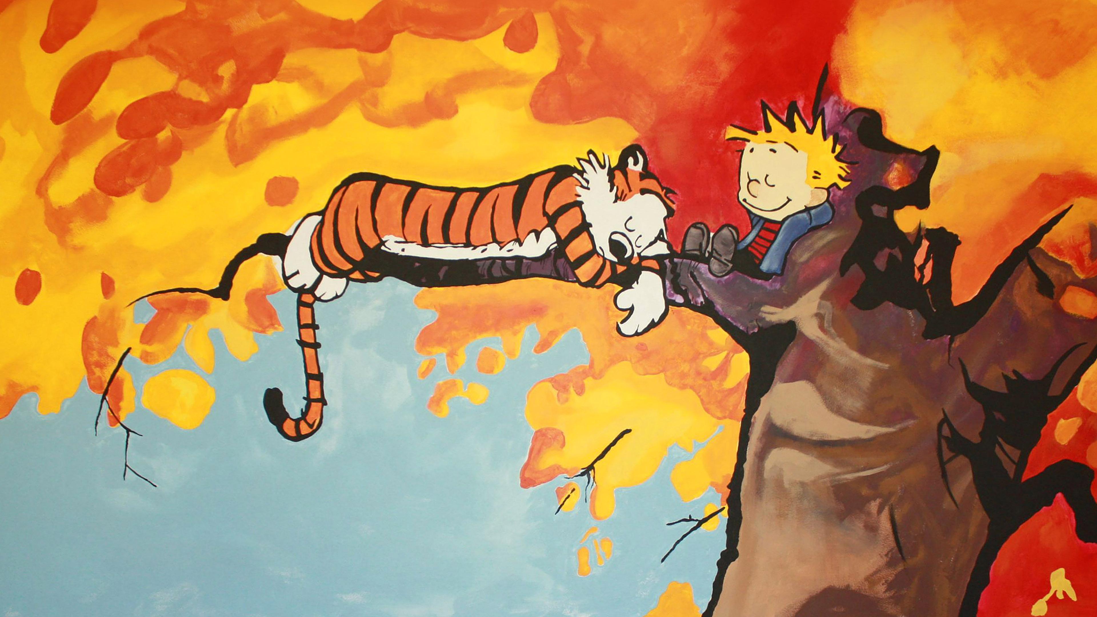 Aa52 Calvin And Hobbes Tree Nap Illust Art