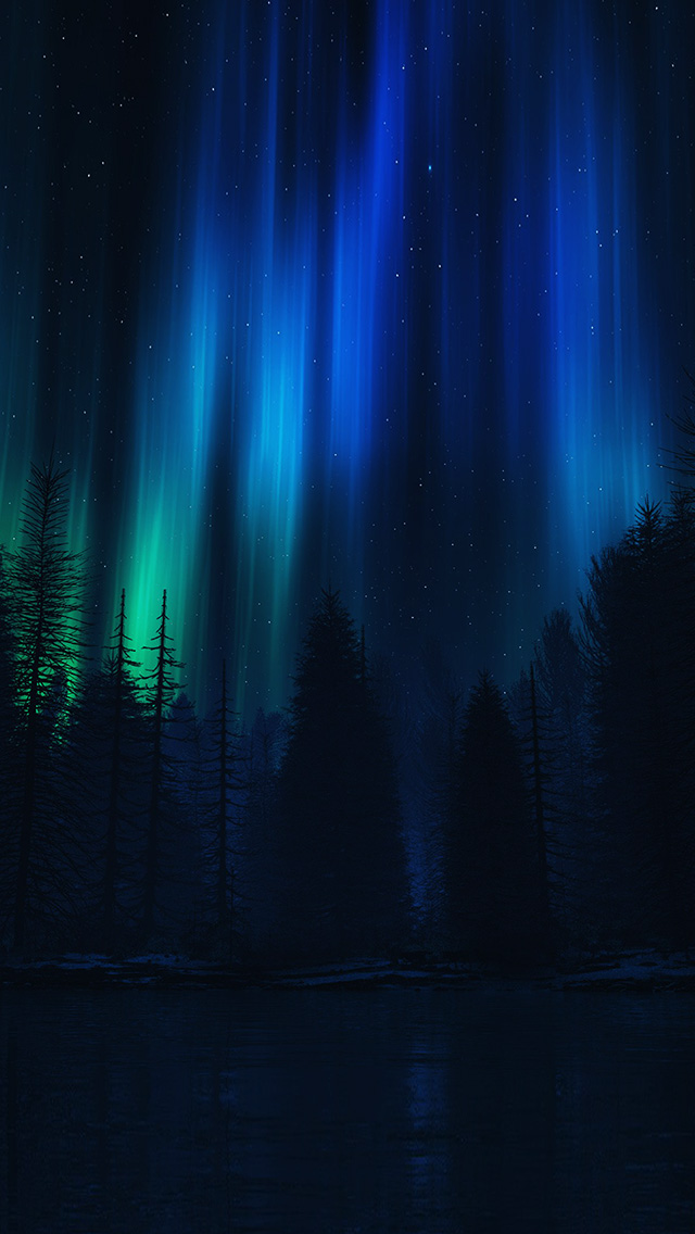 FREEIOS7 Ao04 Aurora Night Sky Dark Blue Nature Art
