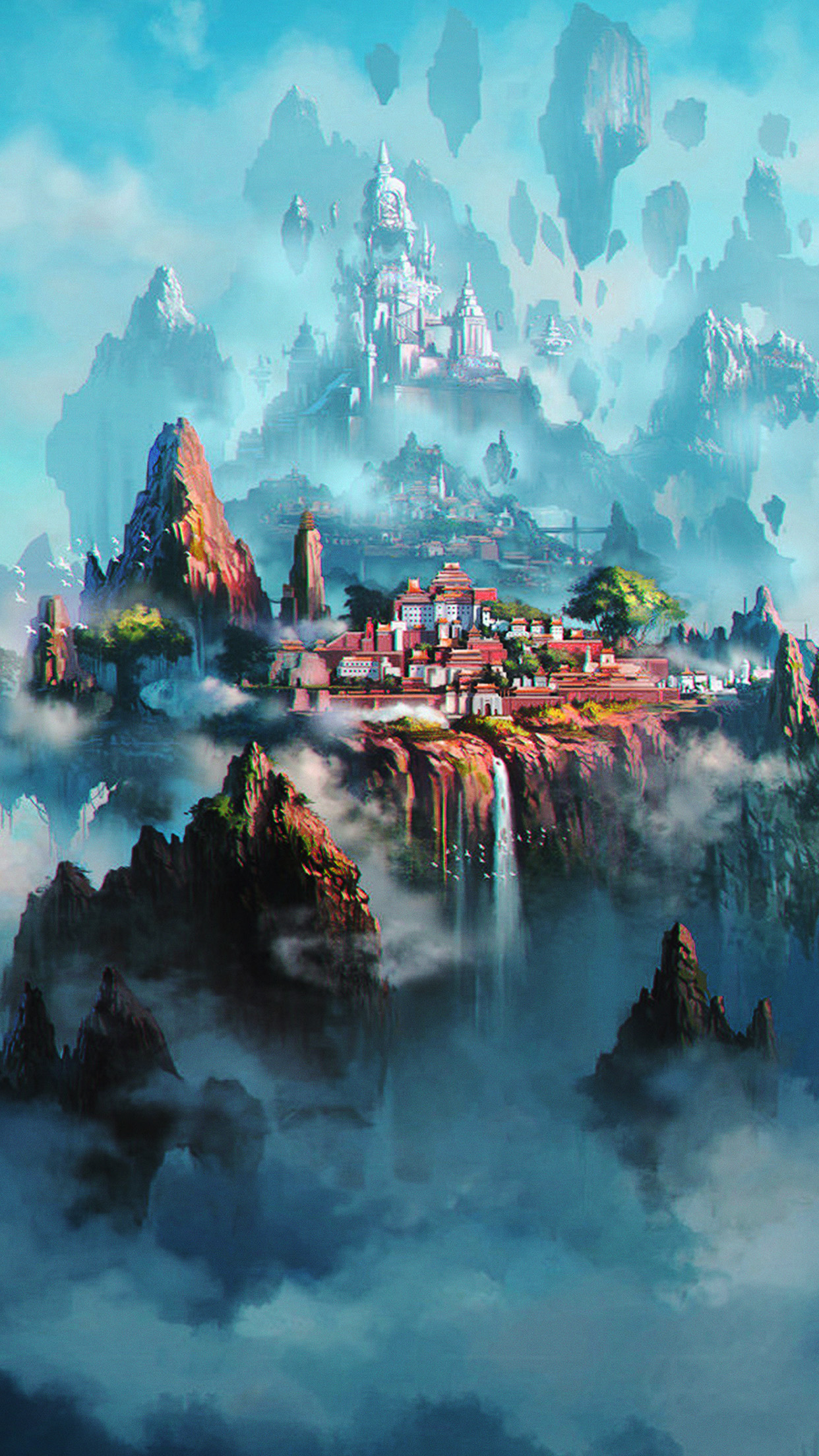 Papers Co Iphone Wallpaper Av36 Cloud Town Fantasy Anime Liang Xing Illustration Art Green