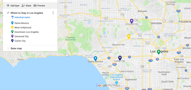 Where to Stay in Los Angeles Map
