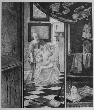 Brian Fay 'Restored drawing of Vermeer The Love Letter c. 1667-1670', pencil on paper, 64x49cm, 2012-3
