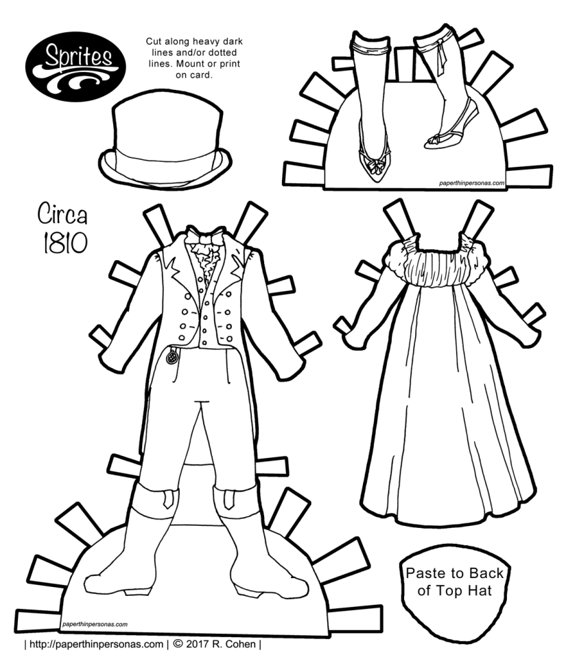 A set of regency paper doll clothing to print from paperthinpersonas.com with a man's suit and a woman's day dress and shoes. The pieces are designed to fit the Sprite paper doll series..