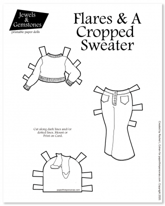 Cropped sweater and flared jeans for my printable paper dolls in black and white for printing and coloring. Free paper doll clothing sheet.