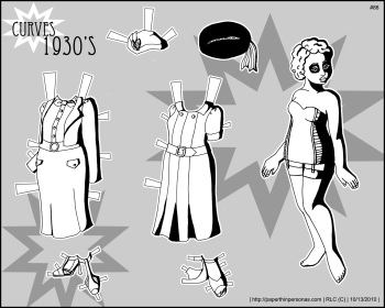 A historical paper doll with 1930s fashions to color- free to print from paperthinpersonas.com.