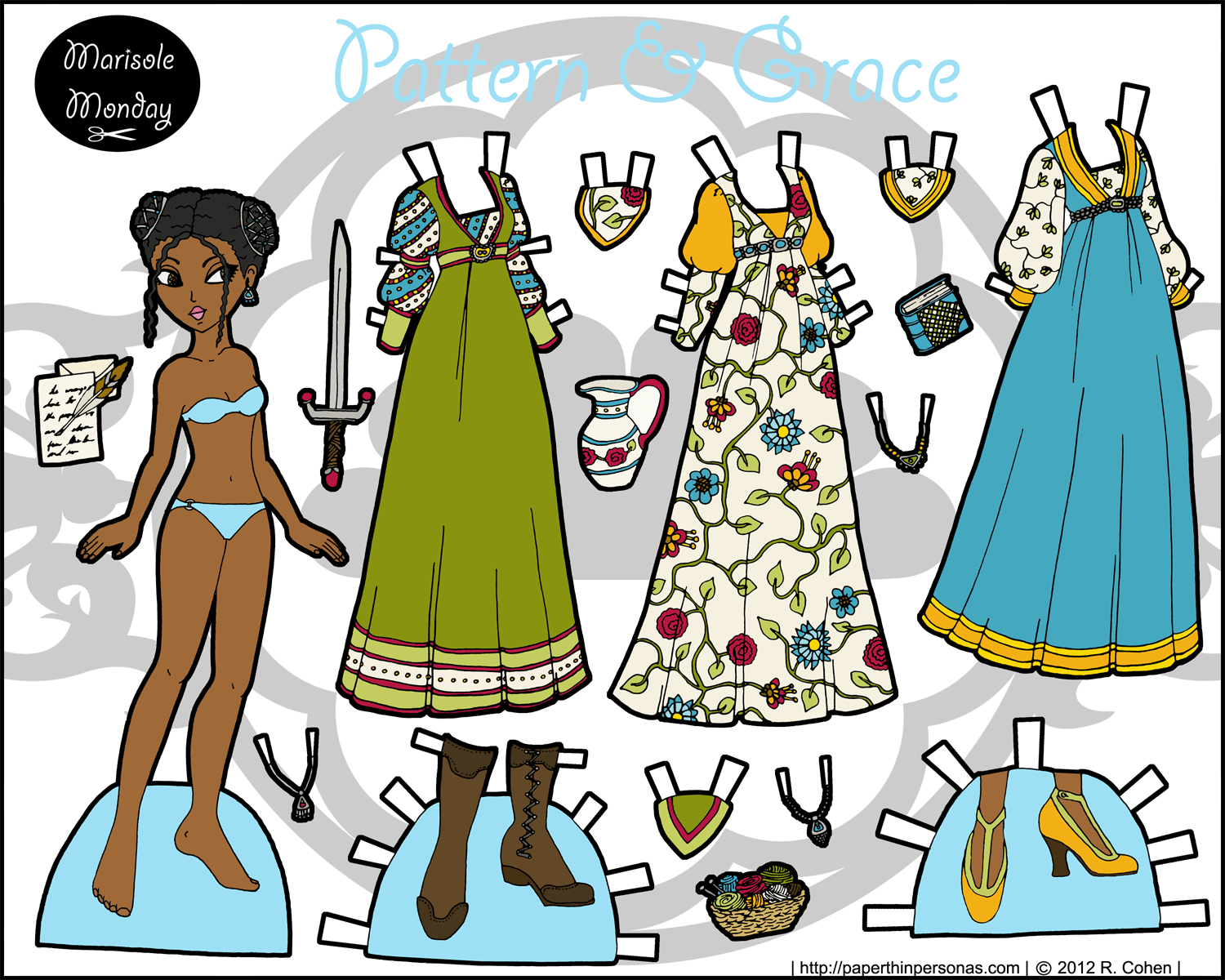 paper doll pattern - HD 1500×1200