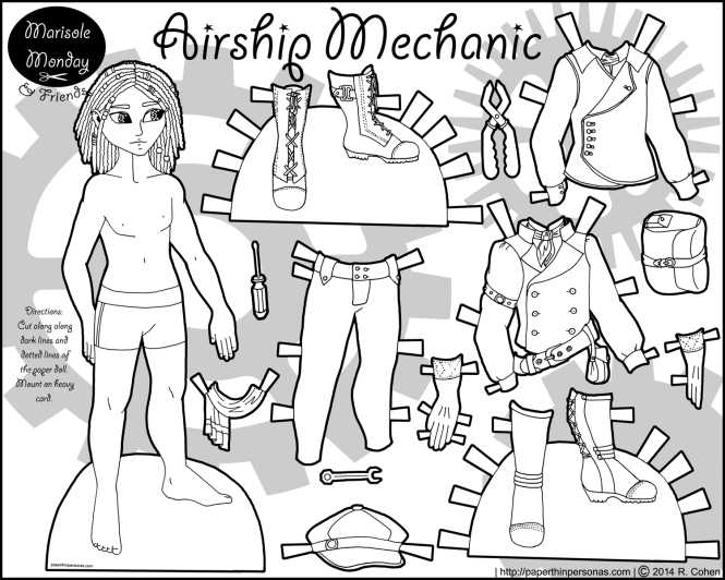 airship-mechanic-paper-doll-bw