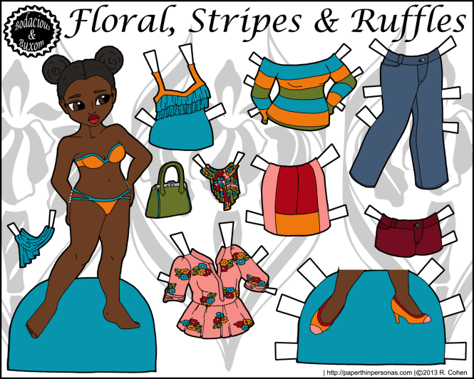 A stylish black paper doll with a ten piece mix and match fashion wardrobe. Free from paperthinpersonas.com