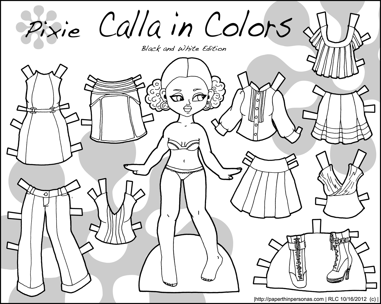 Calla In Colors Black And White Paper Thin Personas