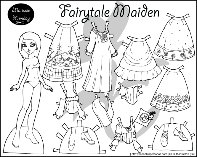 A Fairy Tale maiden black and white princess coloring page to print and dress up. She's a free paper doll from paperthinpersonas.com
