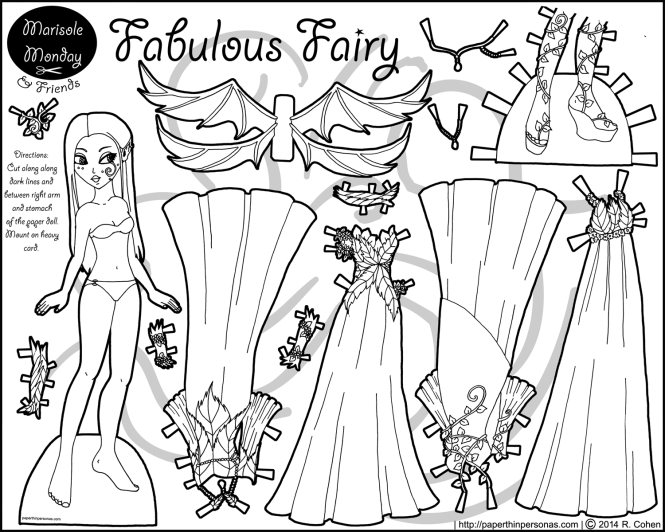 A fairy paper doll coloring page with a doll and four dresses. She also has wings and shoes. From paperthinpersonas.com.