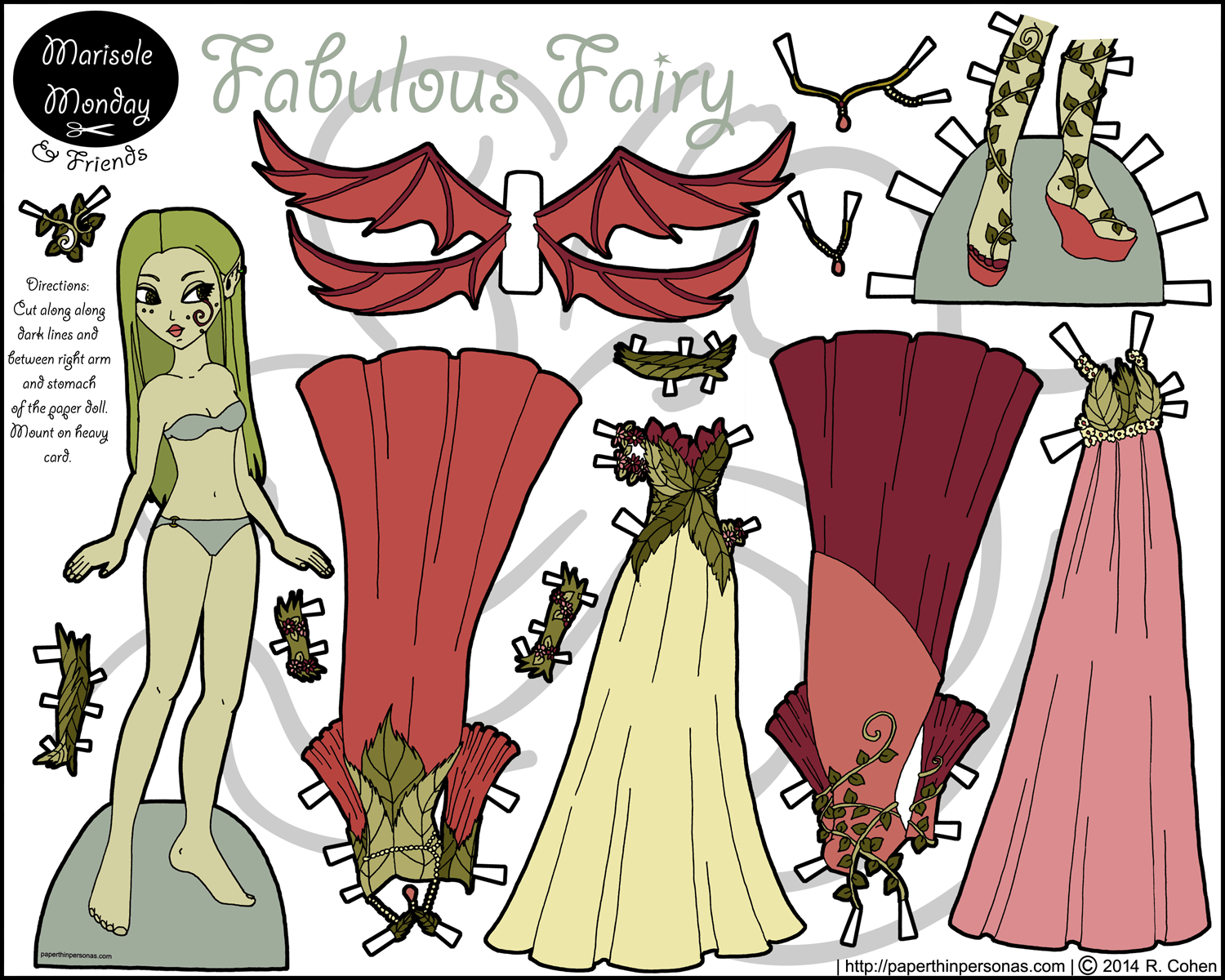fabulous fairy printable paper doll in color mostly green paper thin personas. Black Bedroom Furniture Sets. Home Design Ideas