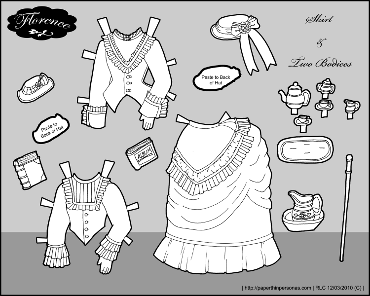A set of skirts and bodices for the 1870s paper doll Florence.