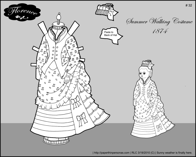A spring walking dress for Florence, my paper doll from the 1870s.