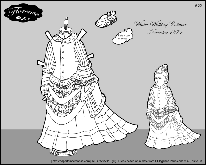 A winter walking costume from 1874 for Florence, my Victorian paper doll. The dress features a train and fur trim. She also has a matching hat.
