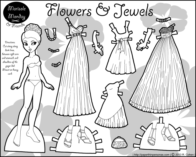 flowers-jewels-marisole-paper-doll-bw