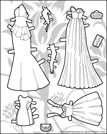 Paper doll gowns in four styles for the Ms. Mannequin series in black and white for coloring. Print from paperthinpersonas.com