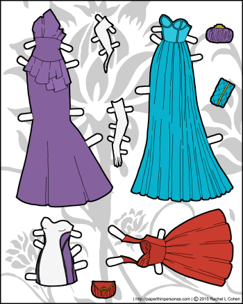 Paper doll gowns in four styles for the Ms. Mannequin series in color. Print from paperthinpersonas.com