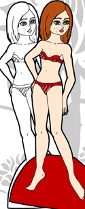 A freckled paper doll who is part of the Ms. Mannequin series of paper dolls. She is available both in color and in black white.