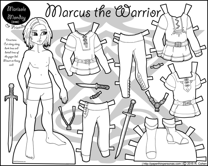 marcus-warrior-paper-doll-bw