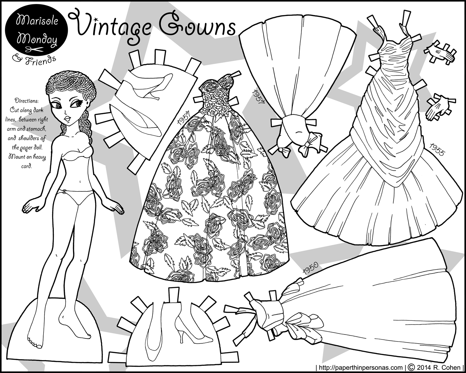 historical paper dolls to print from 900 to 1970 Baby Dolls From the 70s vintage evening gowns of the 1950s
