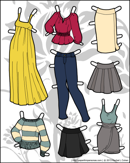 A set of paper doll clothes for the Ms. Mannequin series of paper dolls featuring a maxi dress, jeans, skirts, a sweater and dress. Free to print from Paper Thin Personas.