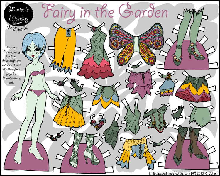 A fairy inspired by English country gardens with blue hair and an extensive wardrobe. From paperthinpersonas.com