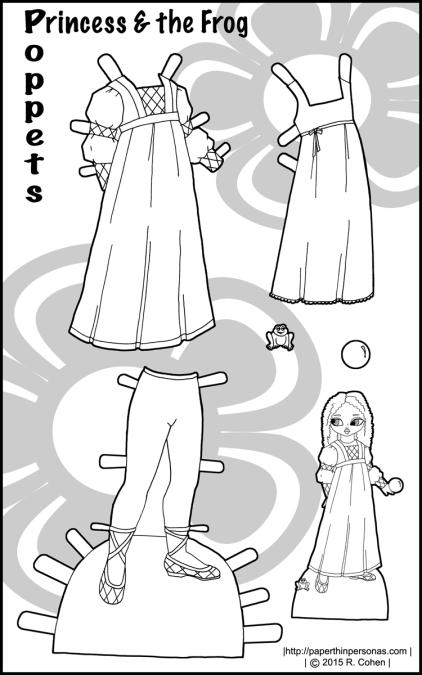 poppet-princess-frog-paper-doll-bw
