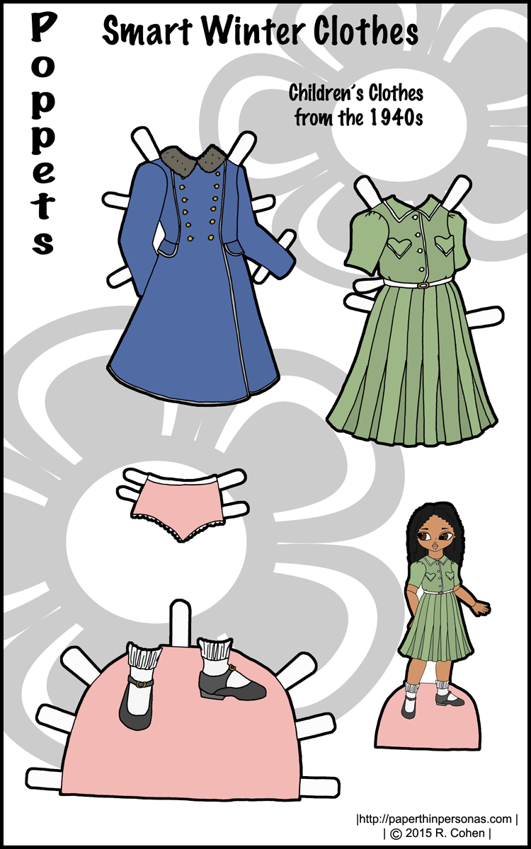 photograph about Paper Doll Clothing Printable referred to as Clever Wintertime Apparel: 1940s Printable Paper Doll Garments