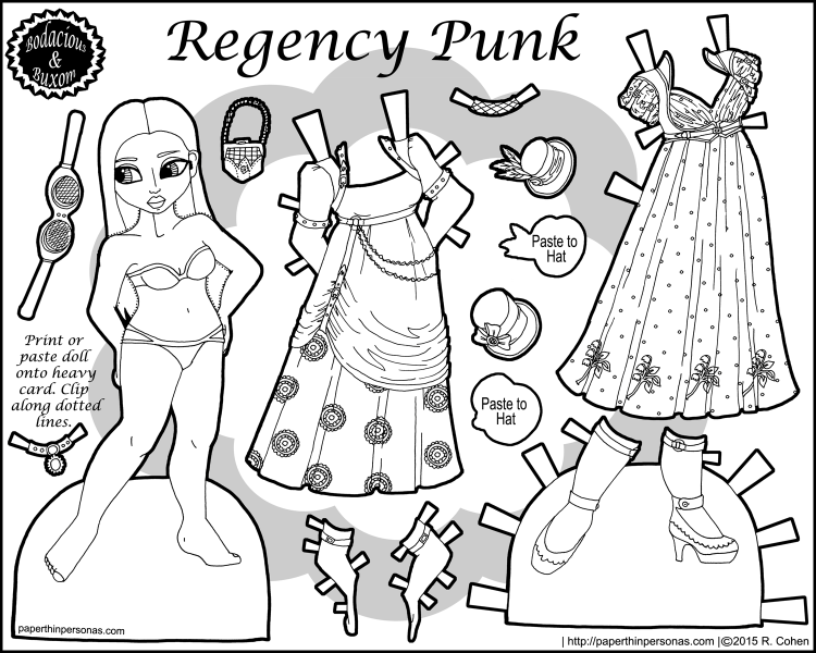 egency Punk: a paper doll inspired by combining steampunk and regency dress elements