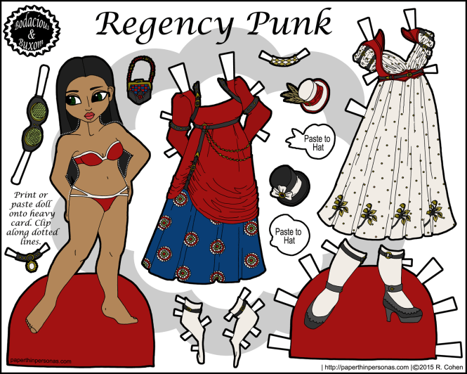 egency Punk: a paper doll inspired by combining steampunk and regency dress elements. Free to print from paperthinpersonas.com