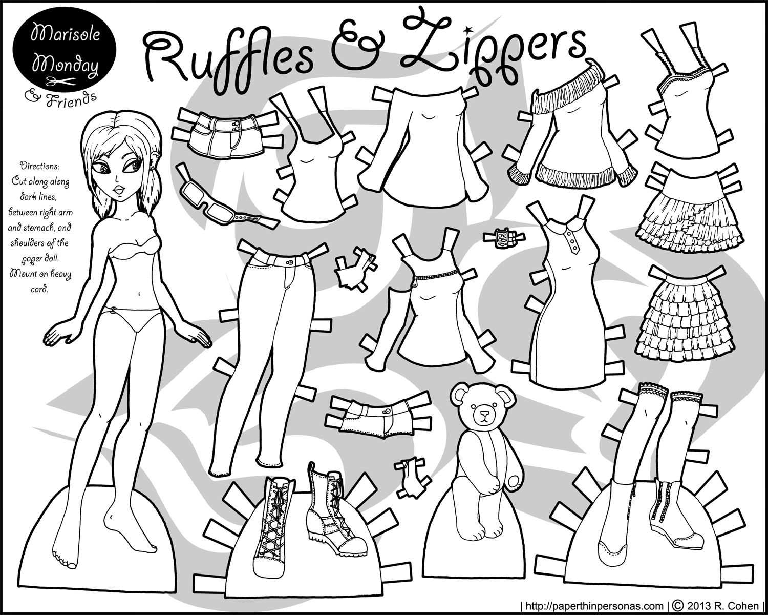 Zippers & Ruffles: Paper Doll With Clothes to Color