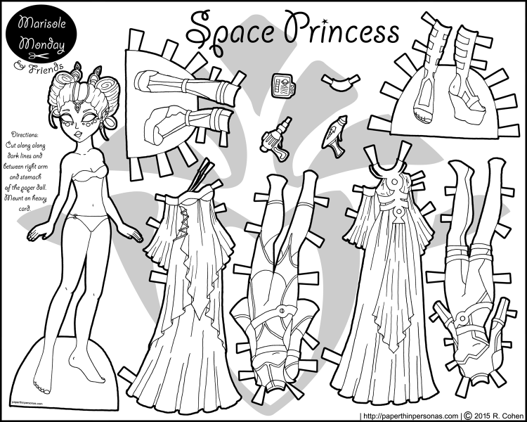 space-princess-paper-doll-bw