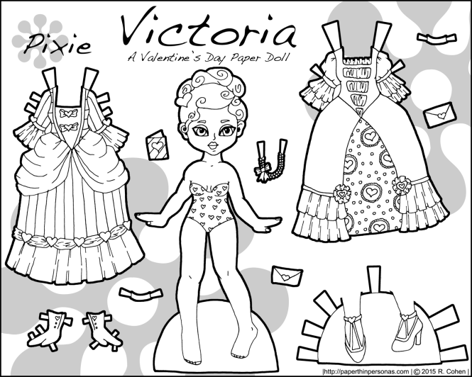 A black and white Valentine's Day paper doll named Victoria and inspired by Victorian valentines. Free to print and color from paperthinpersonas.com.