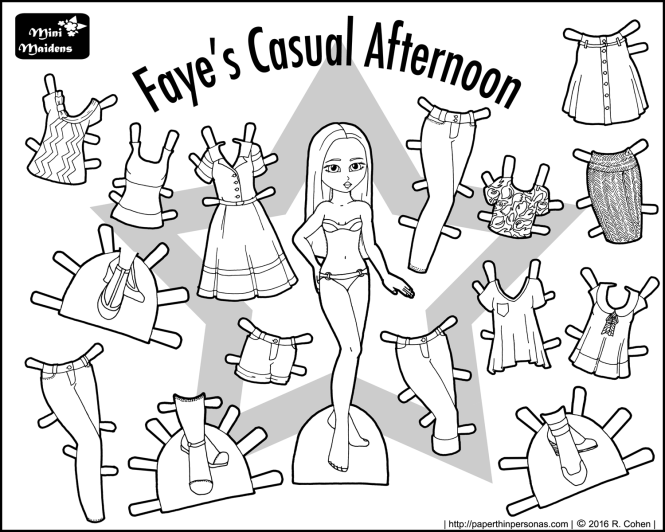 A fashionista paper doll with a big wardrobe. Exclusive to paperthinpersonas.com.