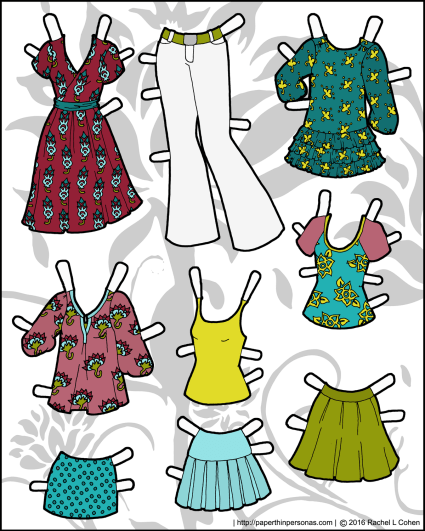 Nine mix and match piece of paper doll clothing for the Ms. Mannequin series. Free to print from paperthinpersonas.com.