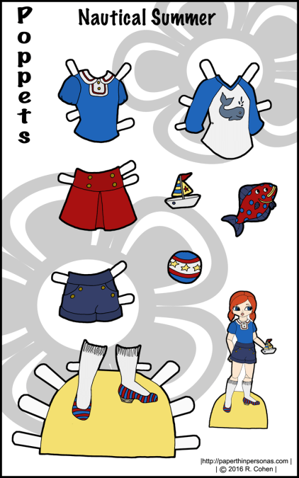 A set of nautical inspired paper doll clothes for the Poppet paper doll series. Also available in black and white from paperthinpersonas.com.