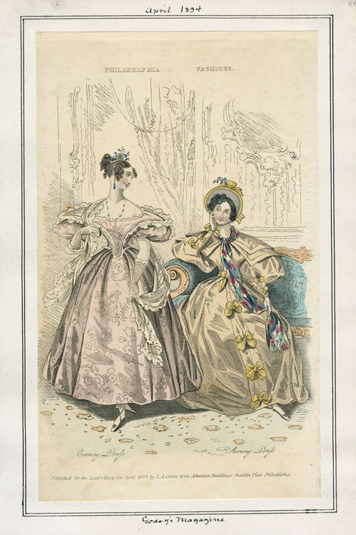 April 1834 Fashion plate from Godey's Lady's Book magazine of two gowns- one evening dress and one carriage dress.