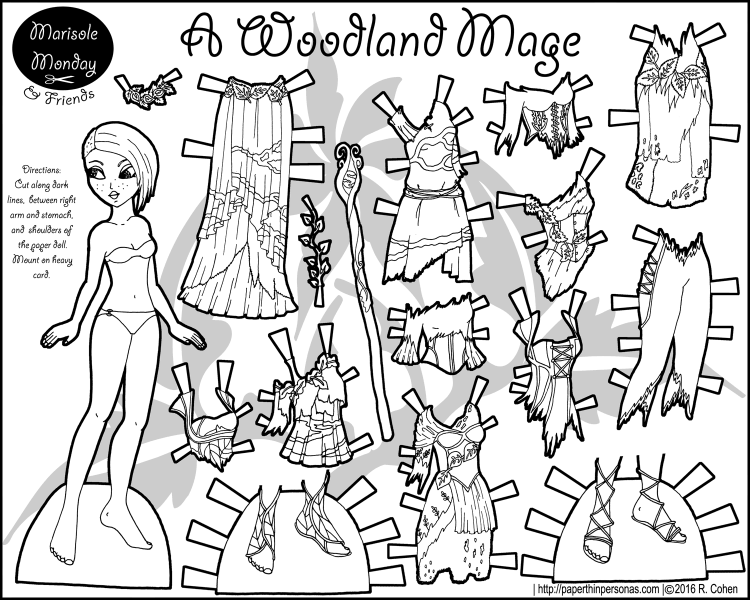 A woodland mage or perhaps a woodland fairy paper doll with a mix and match wardrobe.
