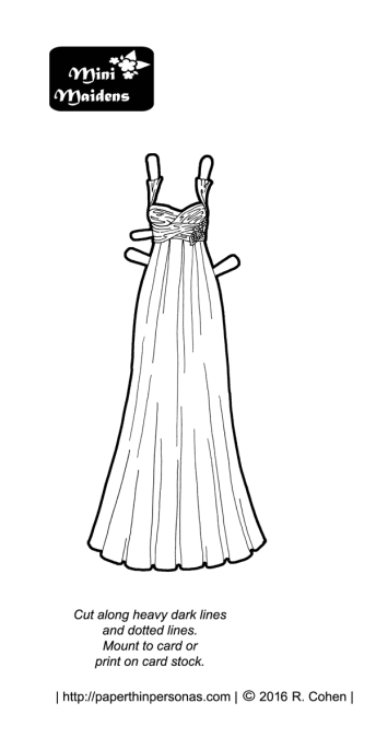 A prom dress for a paper doll with a wrap bodice and some beading detail. This dress fits any of the MIni-Maiden paper dolls and it's free from paperthinpersonas.com.