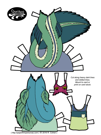Mermaid tails and tops for the Sprites paper doll series. Also available in black and white. Free to print from paperthinpersonas.com