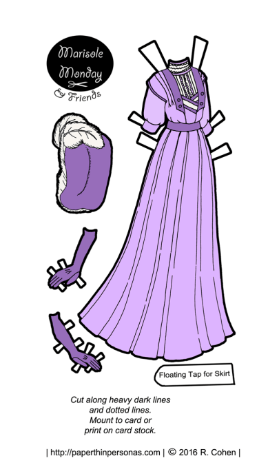 A lavender paper doll promenade dress from the Edwardian era. Also available in black and white for coloring from paperthinpersonas.com.