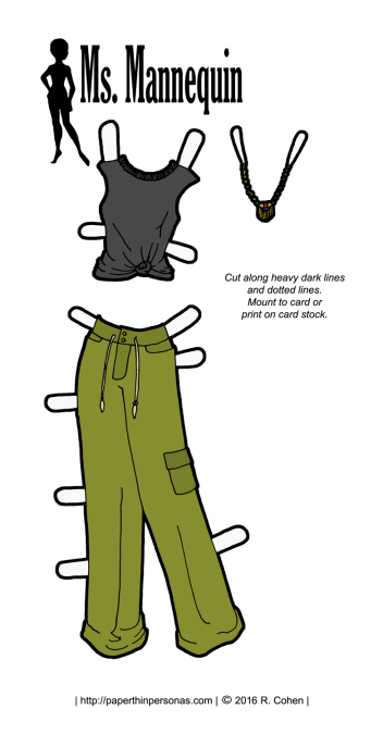 A paper doll outfit inspired by hip-hop fashions for the Ms. Mannequin paper doll series. It's also available in black and white for coloring.