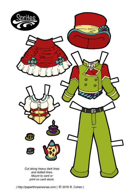 Two paper doll outfits- one for Alice consisting of a red and white skirt and a yellow corset over a white blouse. and one for the Mad Hatter consisting of a pea-green suit, red top hat and purple and blue vest.
