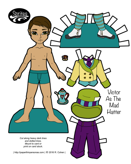 A Mad Hatter paper doll with a three piece suit and shoes. He'd available in color and black and white. Free to print.