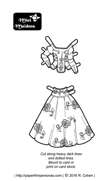 A folk costume inspired fantasy paper doll outfit in black and white for coloring. Designed to fit the Mini-Maiden paper doll series.