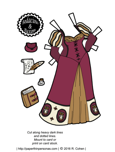 A fantasy paper doll gown featuring owls and puffy sleeves and trim and things. Free to print from paperthinpersonas.com.