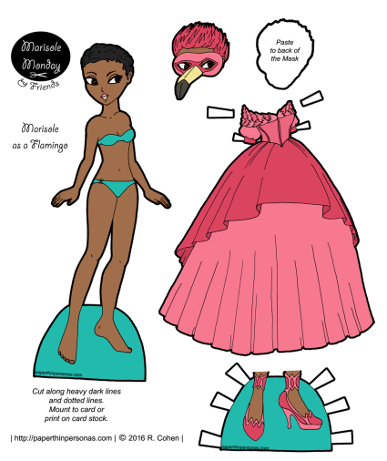 A paper doll masquerade ballgown based on a flamingo available in black and white or in color from paperthinpersonas.com
