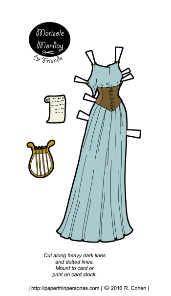 A ancient greek inspired paper doll fantasy gown with a corset and lute.