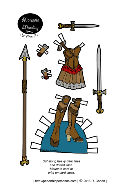 Absurd fantasy paper doll armor with weapons in black and white and color. From paperthinpersonas.com.